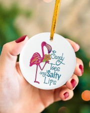 Flamingo Sandy Toes Circle ornament - single (porcelain) aos-circle-ornament-single-porcelain-lifestyles-09