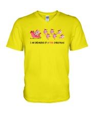 Sharks Pink Christmas V-Neck T-Shirt thumbnail