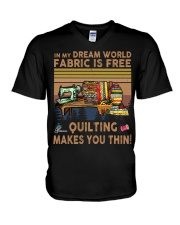 Quilting Makes You Thin V-Neck T-Shirt thumbnail