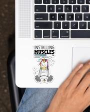 Unicorn Installing Muscle Sticker - Single (Vertical) aos-sticker-single-vertical-lifestyle-front-11