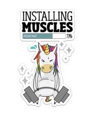 Unicorn Installing Muscle Sticker - Single (Vertical) front
