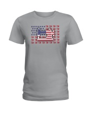 Sew Machine Us Flag Ladies T-Shirt tile