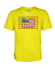 Sew Machine Us Flag V-Neck T-Shirt thumbnail