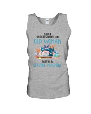 An Old Woman With A Sew Machine Unisex Tank thumbnail