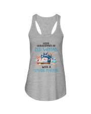 An Old Woman With A Sew Machine Ladies Flowy Tank thumbnail