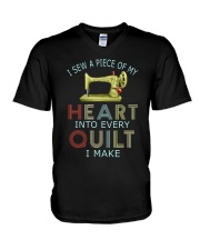 Quilting In My Heart V-Neck T-Shirt thumbnail