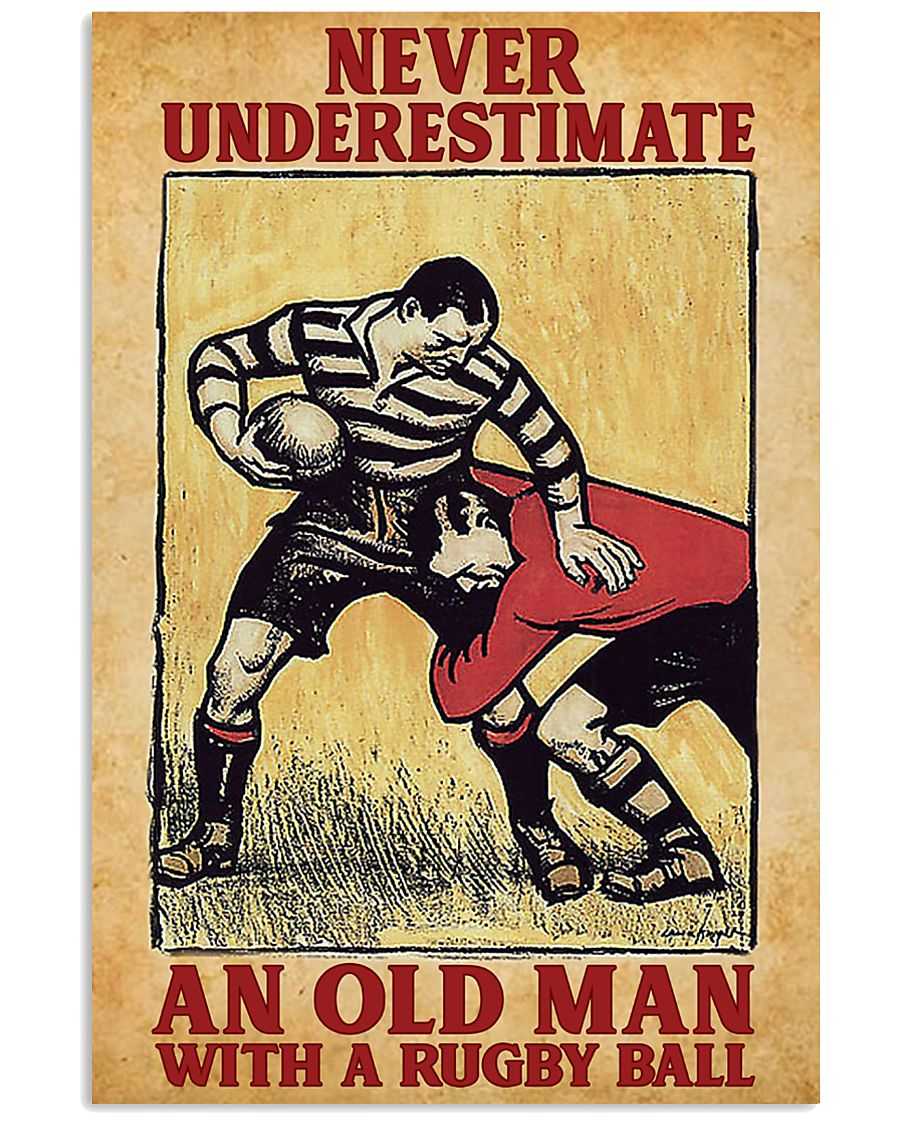 Old Man With Rugby Ball 11x17 Poster