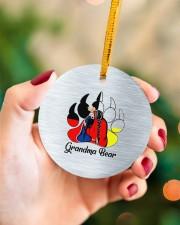 Native Grandma Bear Circle ornament - single (porcelain) aos-circle-ornament-single-porcelain-lifestyles-09