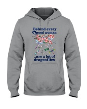 Behind Every Good Woman Have A Lot Of Dragonflies Hooded Sweatshirt thumbnail