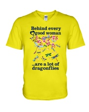 Behind Every Good Woman Have A Lot Of Dragonflies V-Neck T-Shirt thumbnail