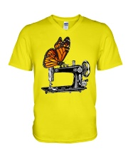 A Monarch And A Quilting Machine V-Neck T-Shirt thumbnail