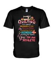 Quilting Is A Sport V-Neck T-Shirt thumbnail