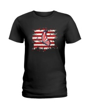 Butterfly Us Flag Ladies T-Shirt thumbnail