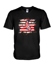 Butterfly Us Flag V-Neck T-Shirt thumbnail
