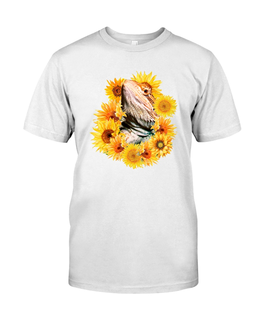 Bearded Dragon And Sunflowers Classic T-Shirt