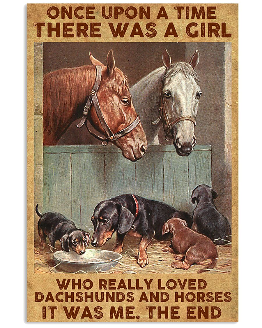 A Girl Loved Horses And Dachshunds 11x17 Poster