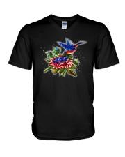 hummingbirds And Roses V-Neck T-Shirt thumbnail