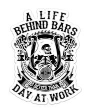 Biker Life Behind Bar Sticker - Single (Vertical) front