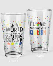 Love Someone With Autism 16oz Pint Glass front