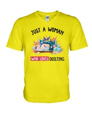 Just A Woman Who Loves Quilting V-Neck T-Shirt thumbnail