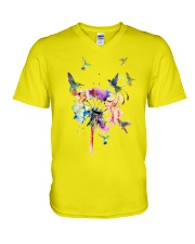 Hummingbirds And Dandelion V-Neck T-Shirt thumbnail