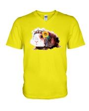 Guinea Pig And Sunflower V-Neck T-Shirt thumbnail
