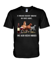 She Also Needs Horses V-Neck T-Shirt thumbnail