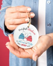 Our First Christmas As Mommy And Daddy Circle ornament - single (porcelain) aos-circle-ornament-single-porcelain-lifestyles-01