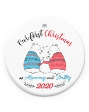 Our First Christmas As Mommy And Daddy Circle ornament - single (porcelain) front