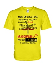 A Woman Loved Dragonflies And Had Tattoos V-Neck T-Shirt thumbnail