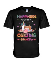 Happiness Is Being A Quilting Grandma V-Neck T-Shirt thumbnail