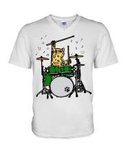 Cat Drum  V-Neck T-Shirt thumbnail
