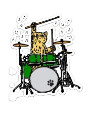 Cat Drum  Sticker - Single (Vertical) front