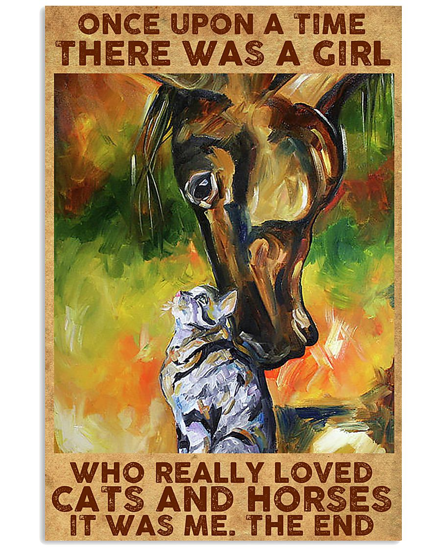 Girl Loved Horses And Cats 11x17 Poster