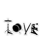 Drum Love Sticker - Single (Horizontal) front