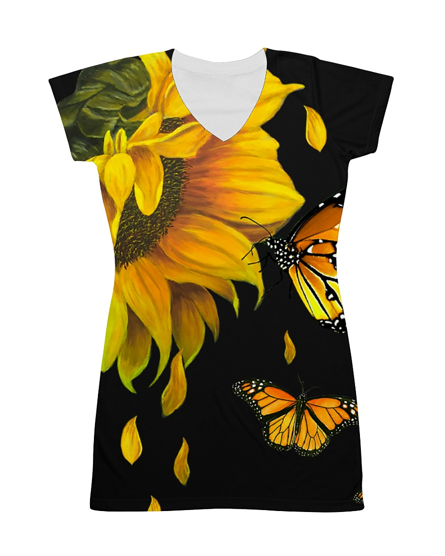 Butterfly And Sunflower All-over Dress