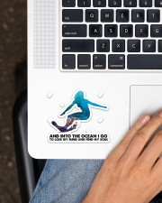Surfing Into The Ocean Sticker - Single (Horizontal) aos-sticker-single-horizontal-lifestyle-front-11