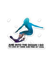 Surfing Into The Ocean Sticker - Single (Horizontal) front