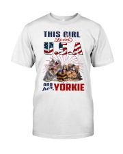 Yorkies And USA Classic T-Shirt front