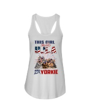 Yorkies And USA Ladies Flowy Tank thumbnail