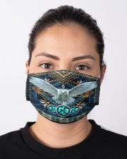Native White Owl Cloth face mask aos-face-mask-lifestyle-01