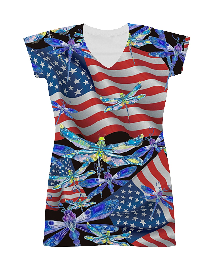 Dragonfly Us Flag All-over Dress