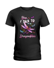 I Talk To Dragonflies Ladies T-Shirt tile
