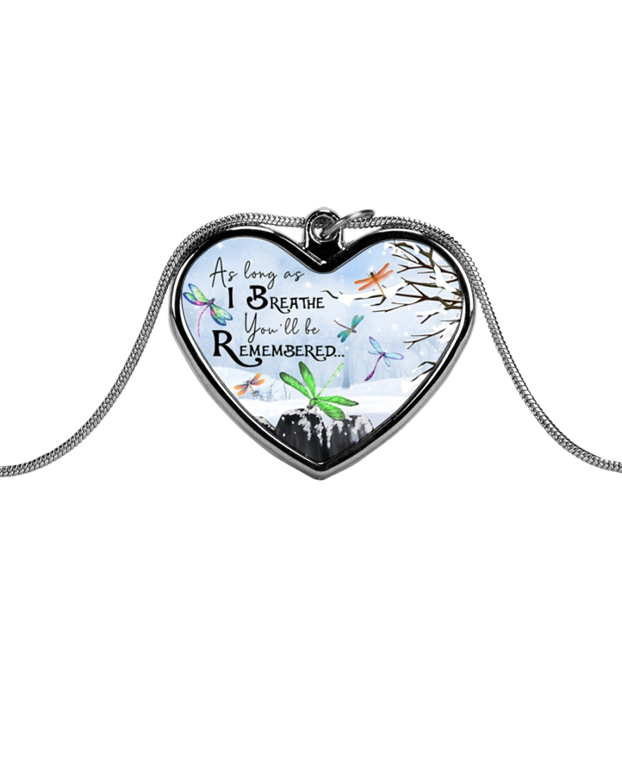 As Long As I Breathe Metallic Heart Necklace