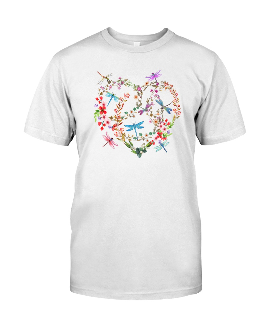 Flower And Dragonflies Classic T-Shirt