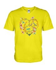 Flower And Dragonflies V-Neck T-Shirt thumbnail