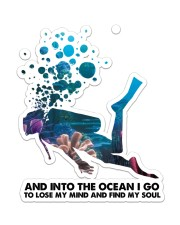 Scuba Diving Into The Ocean I Go Sticker - Single (Vertical) front