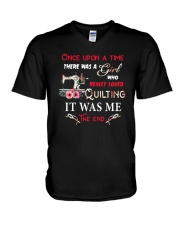 There Was A Girl Who Loved Quilting V-Neck T-Shirt thumbnail