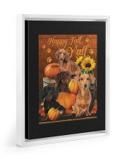 Dachshund Happy Fall Y'all Floating Framed Canvas Prints White tile