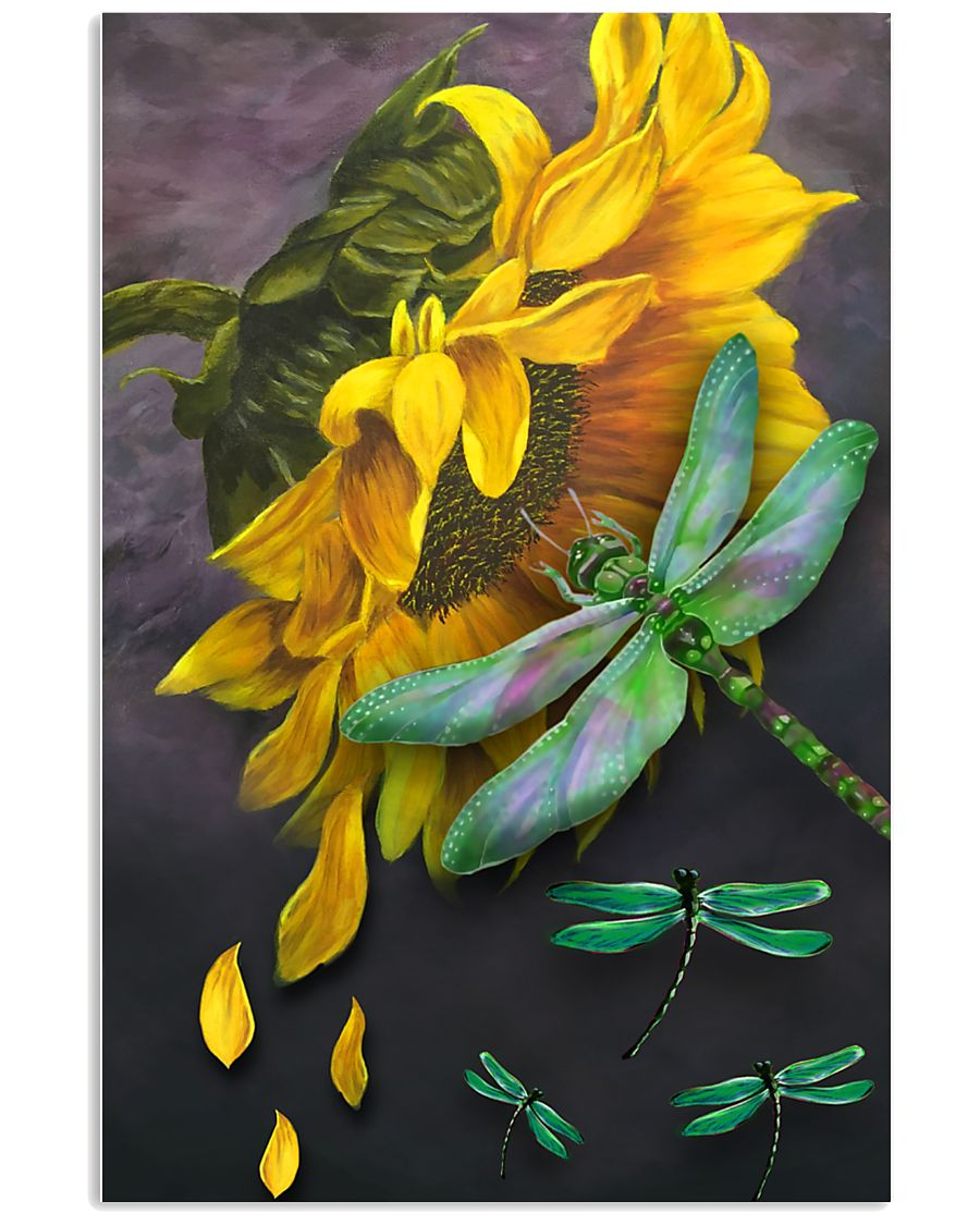 Sunflower And Dragonfly 11x17 Poster